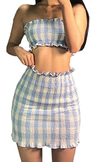 1f9aed56997 cfzsyyw Women s Sexy Two Pieces Plaid Tube Top and Skirt Set Bodycon Mini  Dress Light Blue