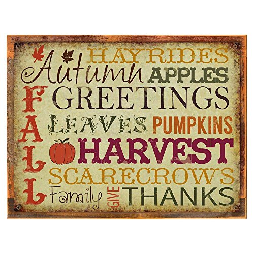 Wood-Framed Autumn Greeting Metal Sign, Holiday, Thanksgiving for kitchen on reclaimed