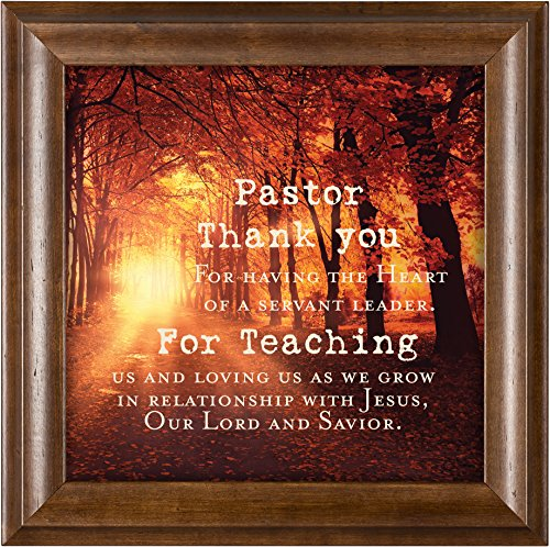 Elanze Designs Pastor Thank You Verona Mocha Wood Finish 12 x 12 Framed Art Wall Plaque