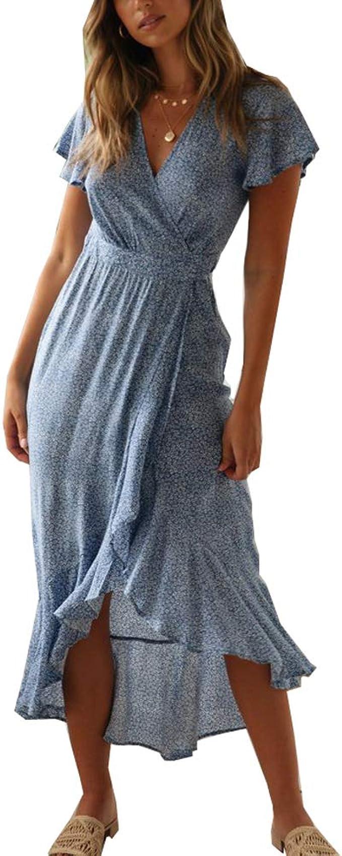 ACLOIN Damen Elegant Wickelkleid Blumen Kleid v-Ausschnit Rüschen Kleider  Boho Strandkleid Baumwolle Sommerkleid