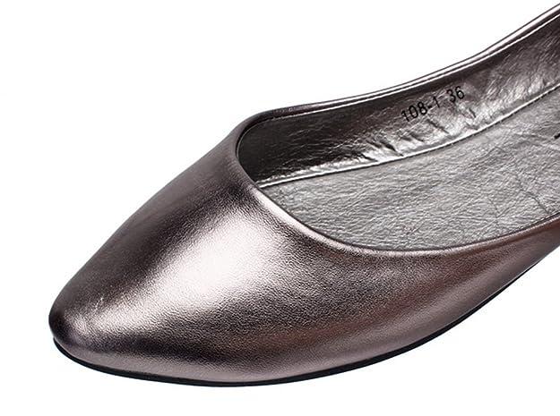 Aisun Damen Typisch Spitz Flach Asakuchi Geschlossen Ballerinas Silber 41 EU q4nk7TuK0