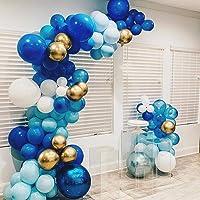 100Pcs Blue Gold White Balloon Garland & Arch Kit-100pcs Latex Balloons, 16 Feets Arch Balloon Strip Tape, Glue Dots…