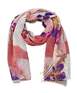 Finecy In - Women & Ladies Fashion Scarf Wrap with Colourful Flowers Printing (Pink)