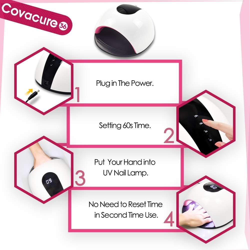 10s, 30s, 60s, 120s Unghie Automatico Sensore con Potenza Superiore COVACURE 72W Lampada Unghie UV Led per Gel 4 Timer Preimpostati Display LCD