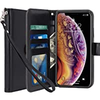 LK Luxury PU Leather Wallet Flip Protective Case Cover with Card Slots and Stand for Apple iPhone Xs Max (Black)