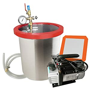 Funwill 5 Gallon Stainless Steel Vacuum Degassing Chamber, 110V 250ml Heavy Duty Stainless Steel Vacuum Degassing Chamber Silicone Kit w/3 CFM Pump Hose-US Shipping