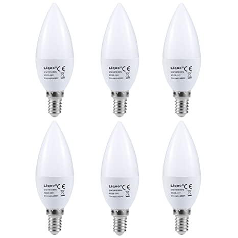 Liqoo® 6uds 7W Regulable E14 bombilla LED vela bombillas vela lámpara del bulbo de lámpara ...