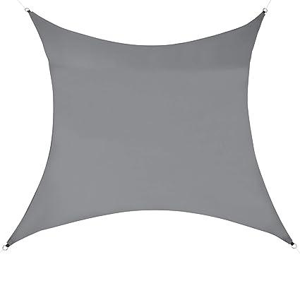 en.casa Sonnensegel Hellgrau Sonnenschutz UV-Schutz Sonnendach 200x300cm