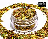 GlitterWarehouse Gold Chunky Glitter Loose Holographic Solvent Resistant Cosmetic Grade Glitter (20g Jar)