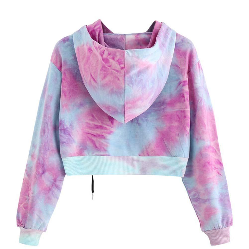 Froomer Womens Tie Dye Long Sleeve Autumn Pullover Hoodie Crop Top