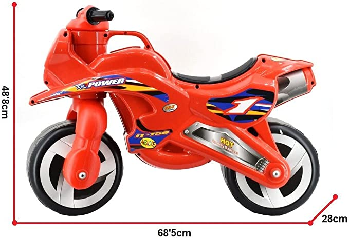deAO Rutscher Kindermotorrad Kinderrad ohne Pedale in coolem roten Design