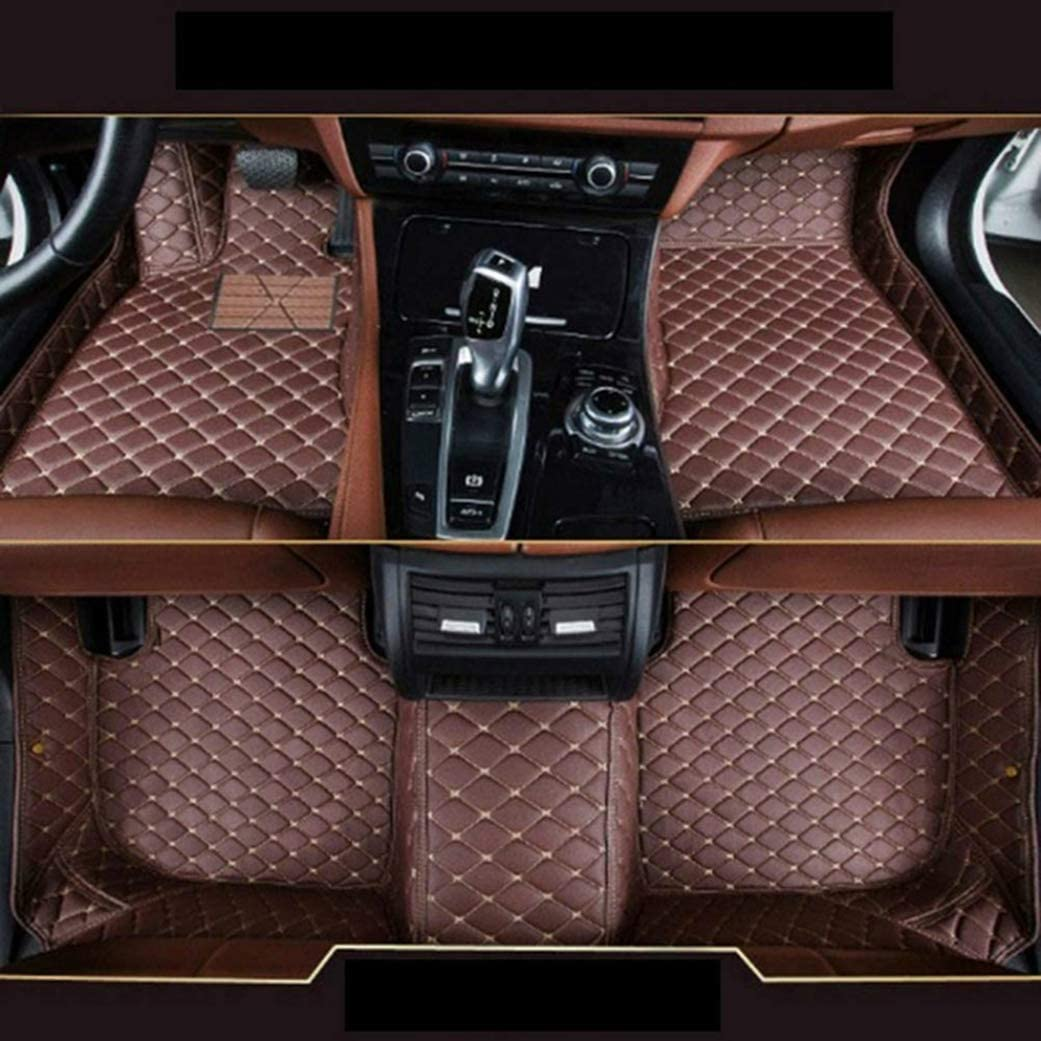 Custom Car Front and Rear Floor Mats Fit for Tesla Model S 2014-2018 Full Coverage All Weather Protection Waterproof Non-Slip Anti-Scratch Leather Auto Floor Liner Carpet Set Black Red