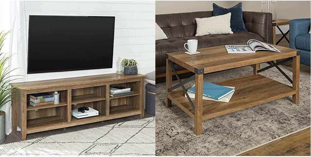 46 inch Walker Edison Wood 70 Console Reclaimed Barnwood 6 Shelves Reclaimed Barnwood /& Rustic Farmhouse Rectangle Wood and Metal Frame Coffee Accent Table Living Room 2 Tier Storage Shelf