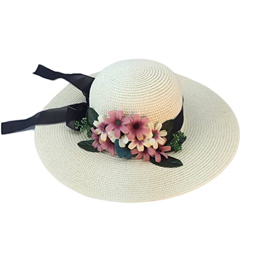 Image Unavailable. Image not available for. Color  Women UV Protection Sun  Hat Floppy Fresh Flower Bow Wide-Brimmed Straw Hat 9d57d61d6f8e