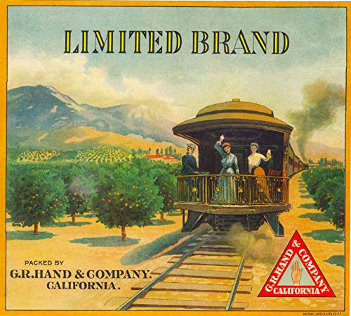 A SLICE IN TIME Riverside California The Limited Brand Train Caboose Orange Citrus Fruit Crate Box Label Art Print - Orange Caboose