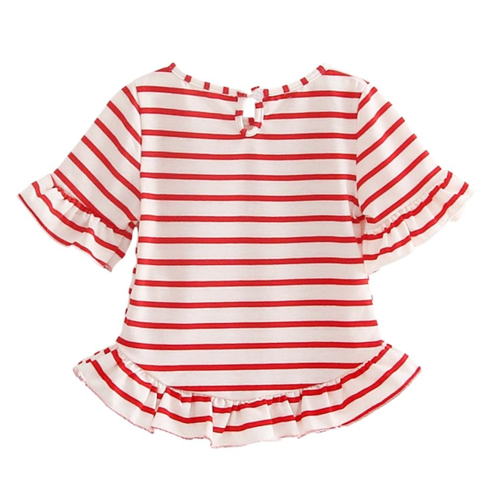 c5afd6d238ef Domybest Summer Girls T-Shirt Flare Sleeve Kids Stripe O-Neck Clothes  Fashion Tops  Amazon.co.uk  Clothing