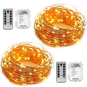 YIHONG 2 Set Fairy Lights 8 Modes String Lights Battery Operated Twinkling 50 LED Fairy String Lights 16.4FT Copper Wire Firefly Lights Remote Control for Bedroom Wedding Festival Decor(Warm White)