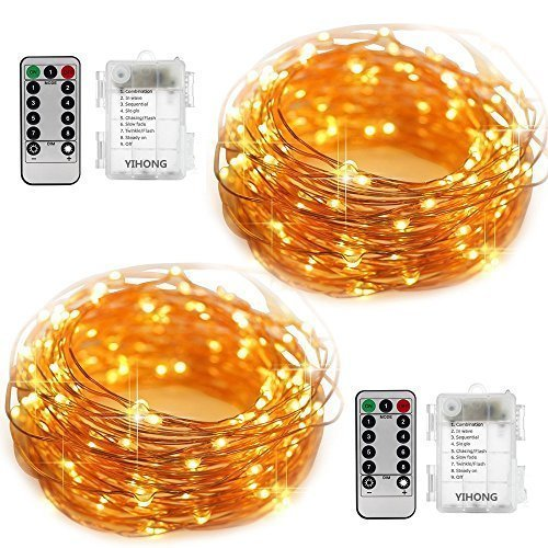 2 Light Set (YIHONG 2 Set Fairy Lights 8 Modes String Lights Battery Operated Twinkling 50 LED Fairy String Lights 16.4FT Firefly Lights with Remote for Bedroom Wedding Halloween Christmas Decoration (Warm White))