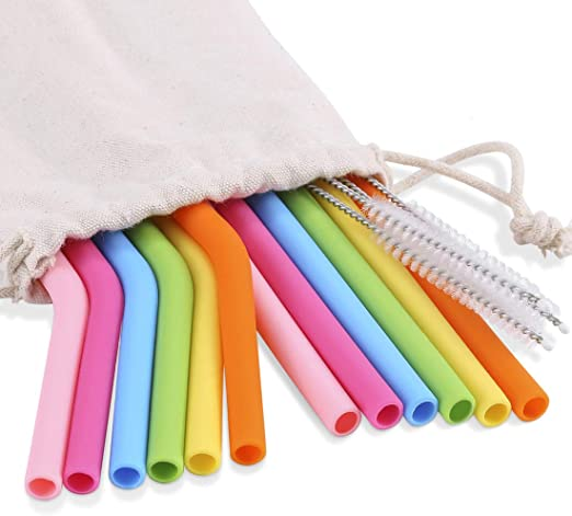 Packaging Bag Reusable Bar Tools Silicone Straws Cleaning Brush Metal Straws