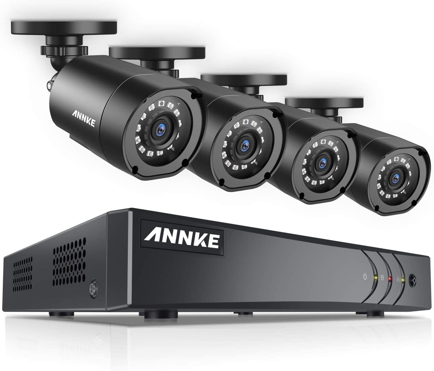 ANNKE 8 Channel Security Camera System 1080P Lite H.264+ CCTV DVR Recorder and (4) 1080P Weatherproof Indoor/Outdoor Surveillance Cameras, Email Alert with Snapshots, NO Hard Drive