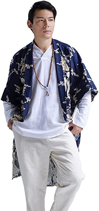 Rrive Men Linen Open Front Solid Color Linen Chinese Cardigan Coat