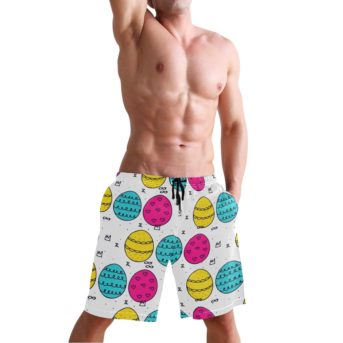 KGuanJi Easter Day Egg Swim Trunks Quick Dry Casual Polyester Shorts