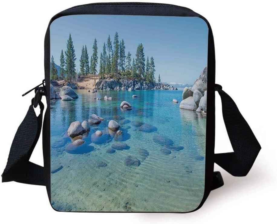 Shabby Chic Florals on Blue Messenger Bag One Size Messenger Bag