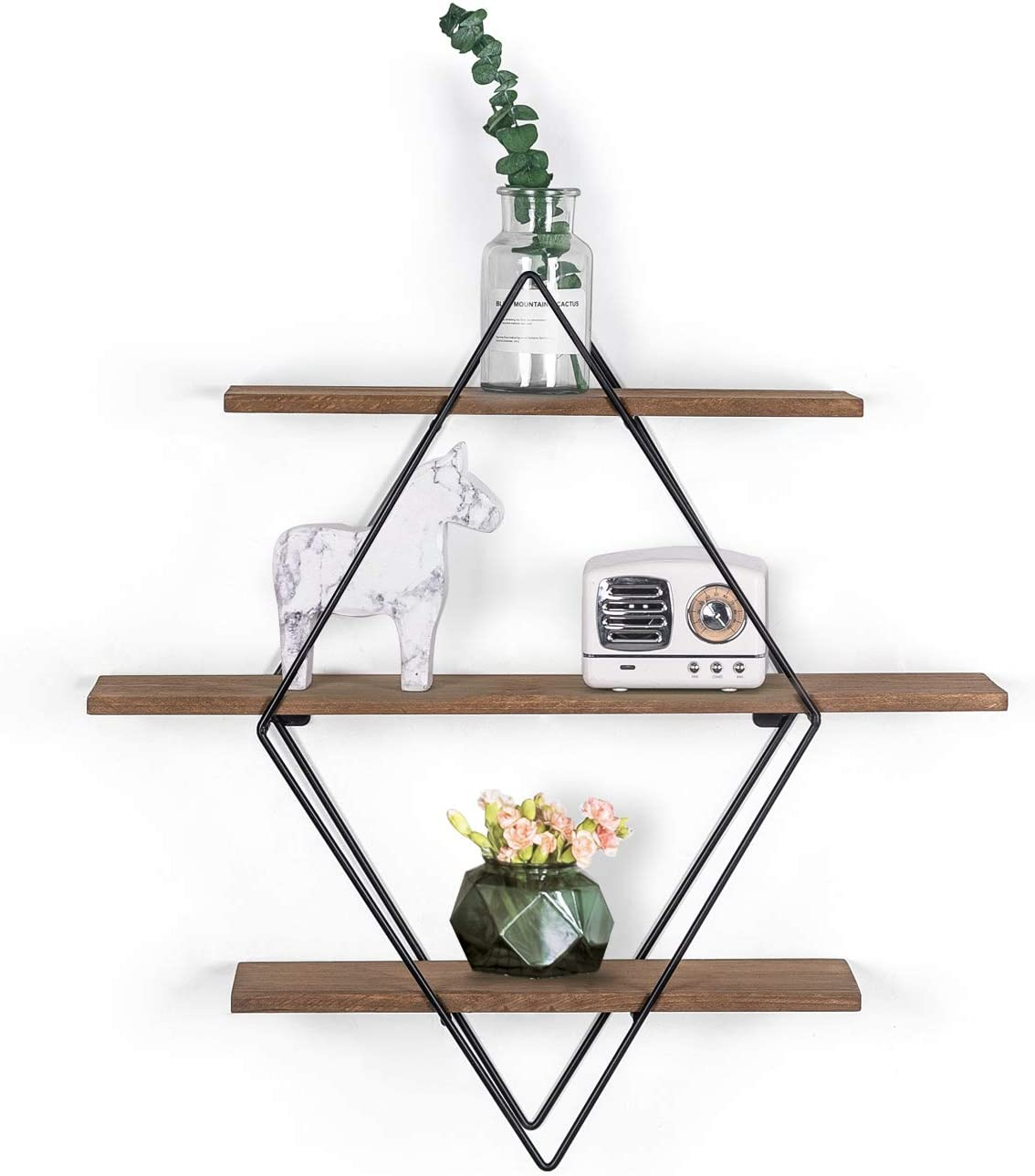 Decent Home 3-Tier Diamond Floating Shelves Wall Mounted, Farmhouse Solid Wood and Metal Rustic Decor Storage for Living Room, Bedroom, Office (Brown)