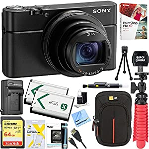 Sony DSC-RX100M6 RX100 VI Cyber-Shot Digital Camera 20.1 MP with 24-200mm Zoom Lens + 64GB SDXC Memory Dual Battery Kit + Accessory Bundle (Deluxe Bundle)