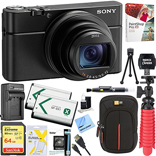 Sony DSC-RX100M6 RX100 VI Cyber-Shot Digital Camera 20.1 MP with 24-200mm Zoom Lens + Lexar 64GB SDHC/SDXC UHS-I...