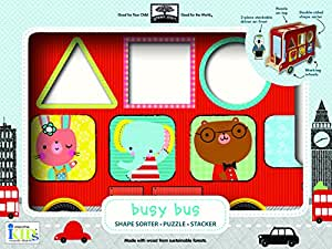 Innovative Kids Green Start Busy Bus Wooden Toy Shape Sorter Puzzle Stacker