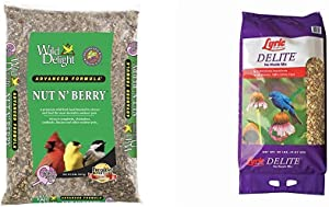 Wild Delight 366200 20-Pound Nut N-Berry Birdfood, 20 lb & Lyric 2647462 Delite High Protein No Waste Wild Bird Mix, 20 lb