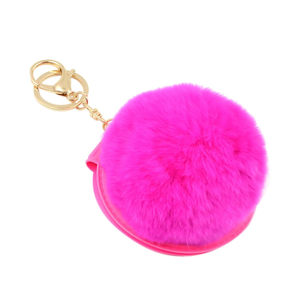 BAOBAO Cosmetic Mirror Fluffy Rabbit Fur Ball PomPom Pendant Keychain Bag Keyring