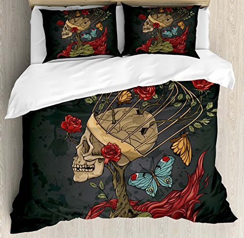 Price comparison product image Ambesonne Skull Duvet Cover Set, Evil Mexican Sugar Skeleton with Kitsch Bush of Roses Snake and Butterfly Artwork, 3 Piece Bedding Set with Pillow Shams, Queen/Full, Ruby Dark Grey