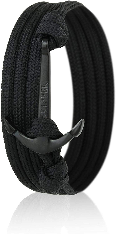 Skipper 7665 Lot de 2 bracelets ancre en acier inoxydable pour elle et lui Rose//noir