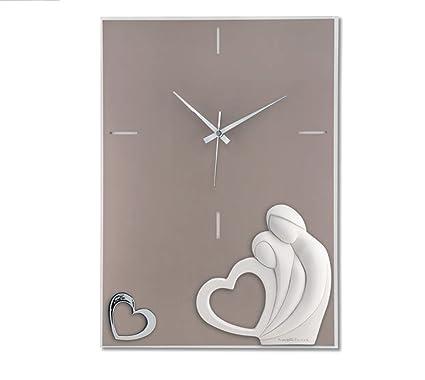 Orologio da Parete Romantico Rettangolare Moderno Tortora Innamorati Cuore  Argento Amazon.it Casa e cucina