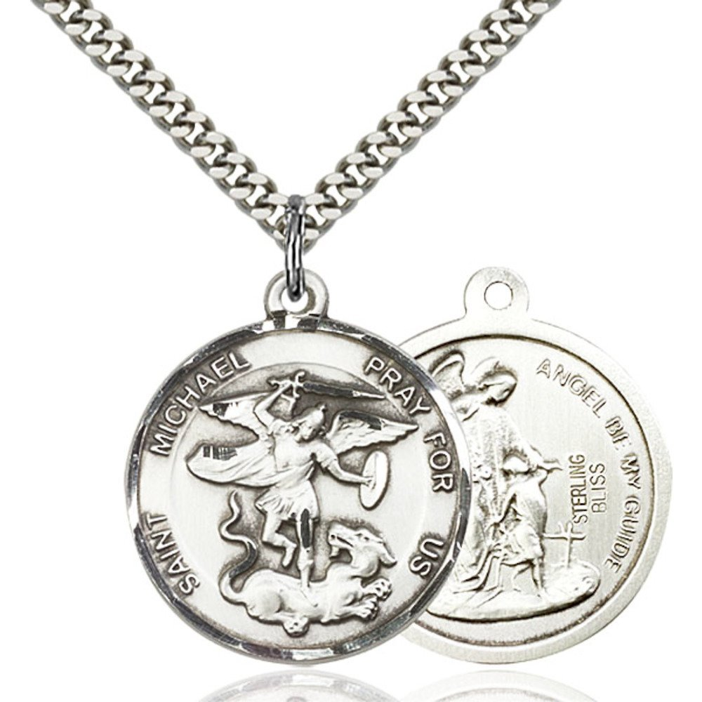 Sterling Silver St. Michael the Archangel Pendant 1 x 7/8 inches with Heavy Curb Chain Bliss Manufacturing 0342SS/24S