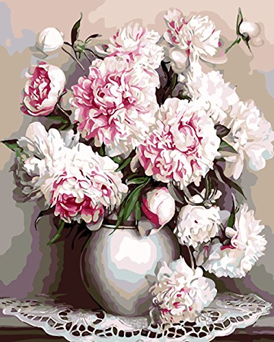 Paint by Number Kit for Adults, Pink Peony Drawing with Brushes Paint, 16 X 20 inches