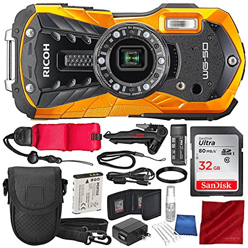 Ricoh WG-50 Waterproof/Shockproof Point and Shoot Digital Camera (Orange) with 32GB, Floating Strap, Tripod, and Accessory Bundle