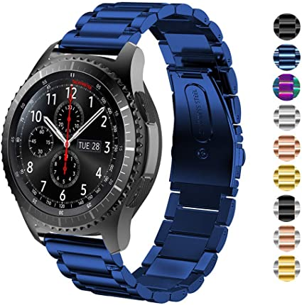 HUANLONG Gear S3 Frontier/Classic Watch Band,22mm Stainless Steel Link Bracelet Strap Compatible for Samsung Gear S3 Classic/Frontier/Galaxy Watch ...