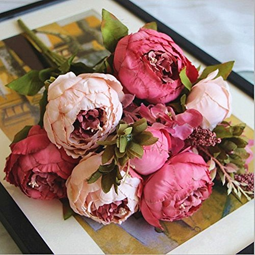 (Shine-Co Artificial Peony Silk Flowers Bouquet Glorious Moral for Home Office Parties and Wedding (dark pink))