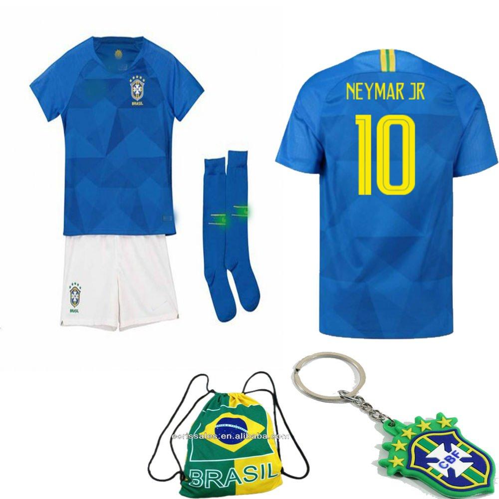 Short Bag 2 to 13 Years Old Socks Brazil National Team Neymar Soccer Jersey Kit : Shirt