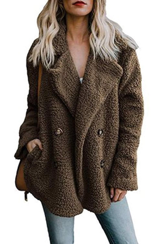 Women Faux Fur Coats Winter Casual Warm Button Outwear Jackets
