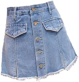 8dbe79158744 Zalock Damen Faltenrock Summer Mini Rock Basic Solid Vielseitige Skirt Baumwolle  Midi Rock Strandrock A-