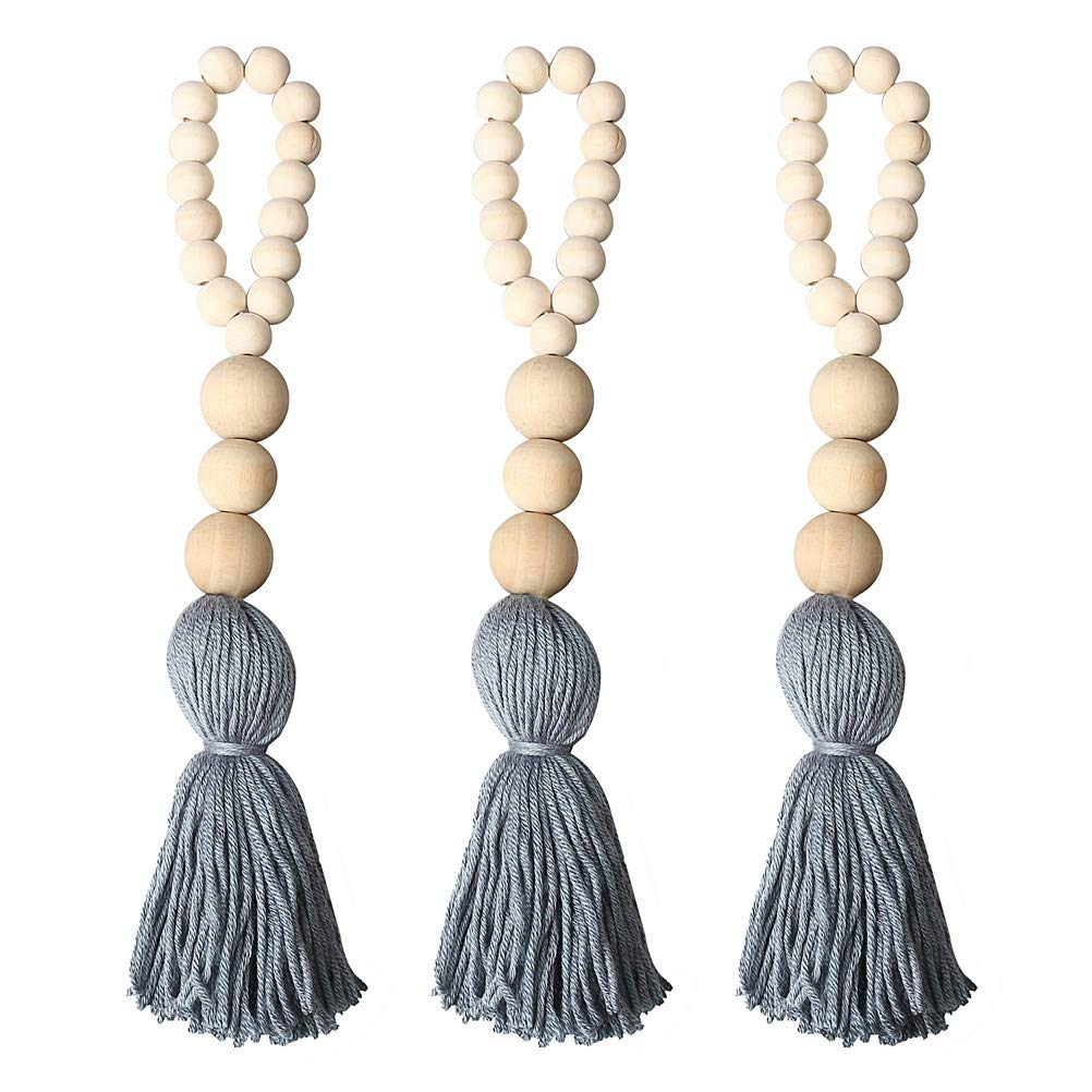 Pengxiaomei 3pcs Farmhouse Beads With Tassels Wall Hanging Decor Wood Bead Graland Natural Prayer Beads