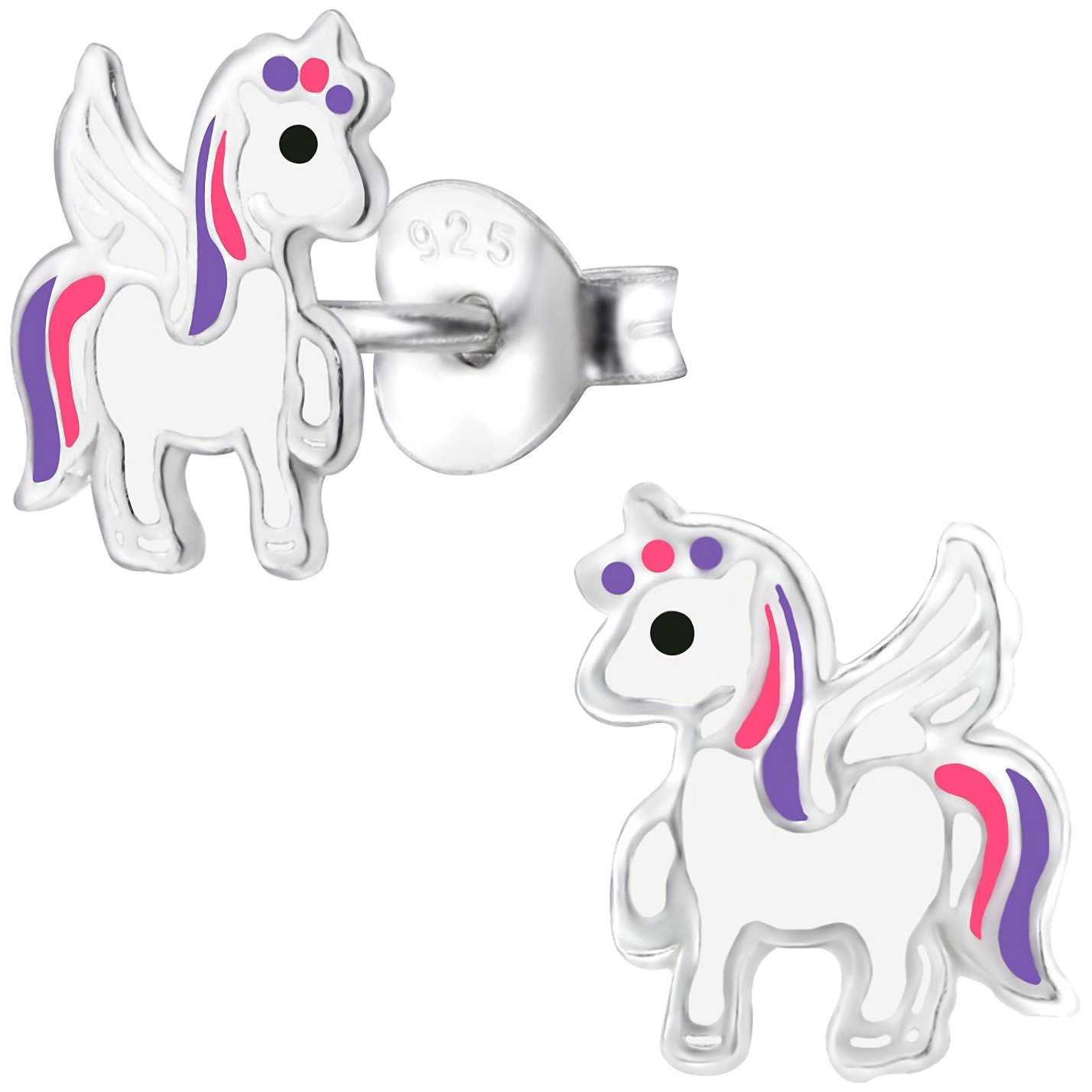 JAYARE Boucles d'oreilles Enfants licornes Unicorn argent sterling 925 Email multicolore clou d'oreilles fille