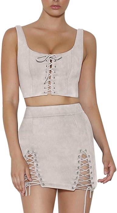 MISSMAOM Conjuntos para Mujer Camisa sin Mangas con Crop Top + ...