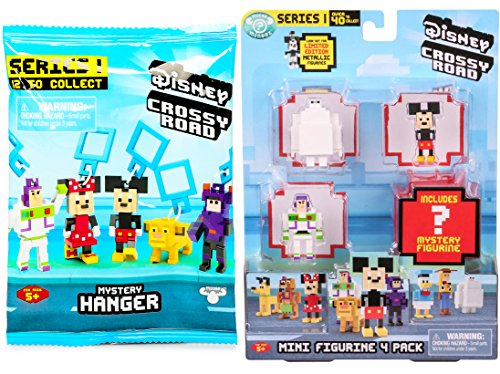 Series 1 Mini Vehicles (Crossy Road Disney Series 1 Mini Figurine 4-Pack & (1) Mystery Mini Figure Blind Bag Hanger Video Game Character Bundle)