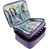 Nail Polish Organizer Case, Famard Portable Nail Polish Holder Holds 42 Bottles (15ml ) with Adjustable Dividers , Double-lay