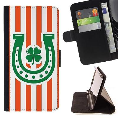 FJCases Patrón de Líneas Herradura Trébol Suerte (Naranja) Carcasa Funda Billetera con Ranuras para Tarjetas y Soporte Plegable para Motorola Moto E5 Play/Moto E5 Cruise